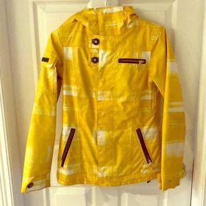 Bright yellow burton snowboard jacket